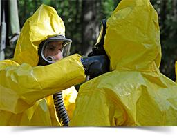 Biohazard technicians on site.