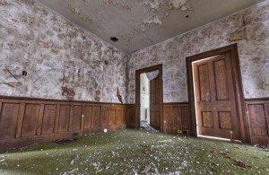 Severe mold damage in a destroyed room.