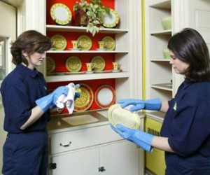 Technicians cleaning dishware.