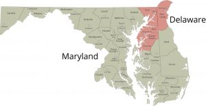 A service area map of Maryland and Delaware.